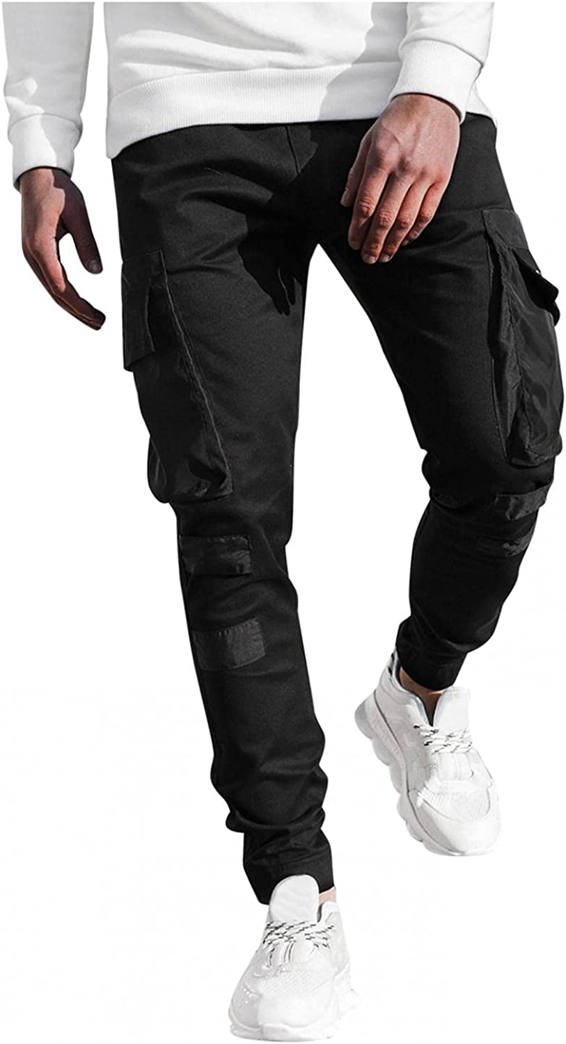 FUNEY Cargo Pants for Mens Fashion Joggers Sports Pants Regular Straight Stretch Tapered Sweatpants Trousers Pencil Pants