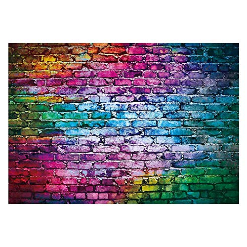 Funnytree 7x5ft Colorful Brick Wall Backdrop for 80's 90's Hip Hop Disco Birthday Wedding Graduation Themed Party Photography Background Retro Block Portrait Photo Studio Props Decorations Banner