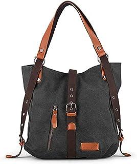 HAOKUNG Canvas Handbag Shoulder Bag for Women Girls, Convertible Casual Backpack Purse School Tote Hobo Overnight Bag for ...
