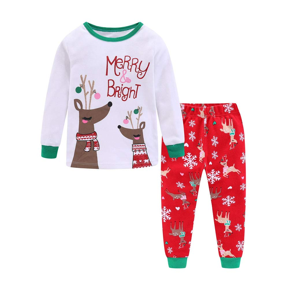 Image of Colorful Merry and Bright Reindeer Christmas Pajamas for Girls and Toddler Girls