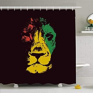 ArtsDecor Shower Curtains 66 x 72 Inches Green Marley Lion Head Rasta Red Bob Waterproof Fabric Bathroom Home Decor Set Hooks
