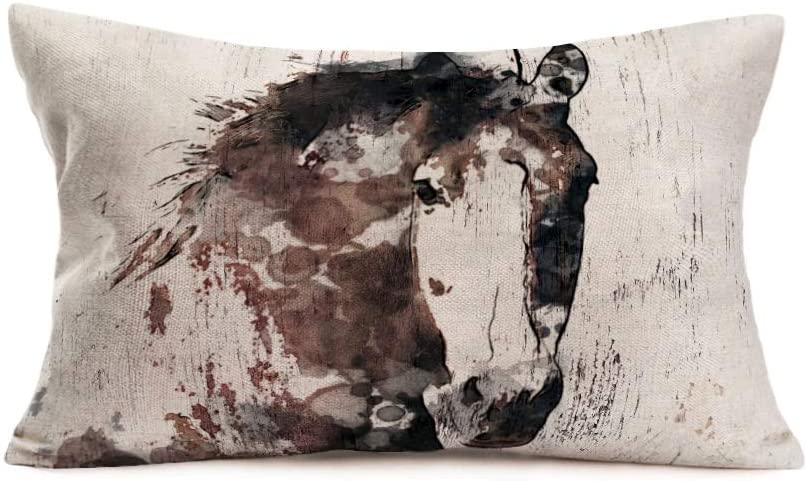 YANGYULU Throw Pillow Covers Black Ink Painting Hand Style Vintage Horse Animals Theme Decorative Pillow Cases Cotton Linen Cushion Cover Decor Home Couch 12