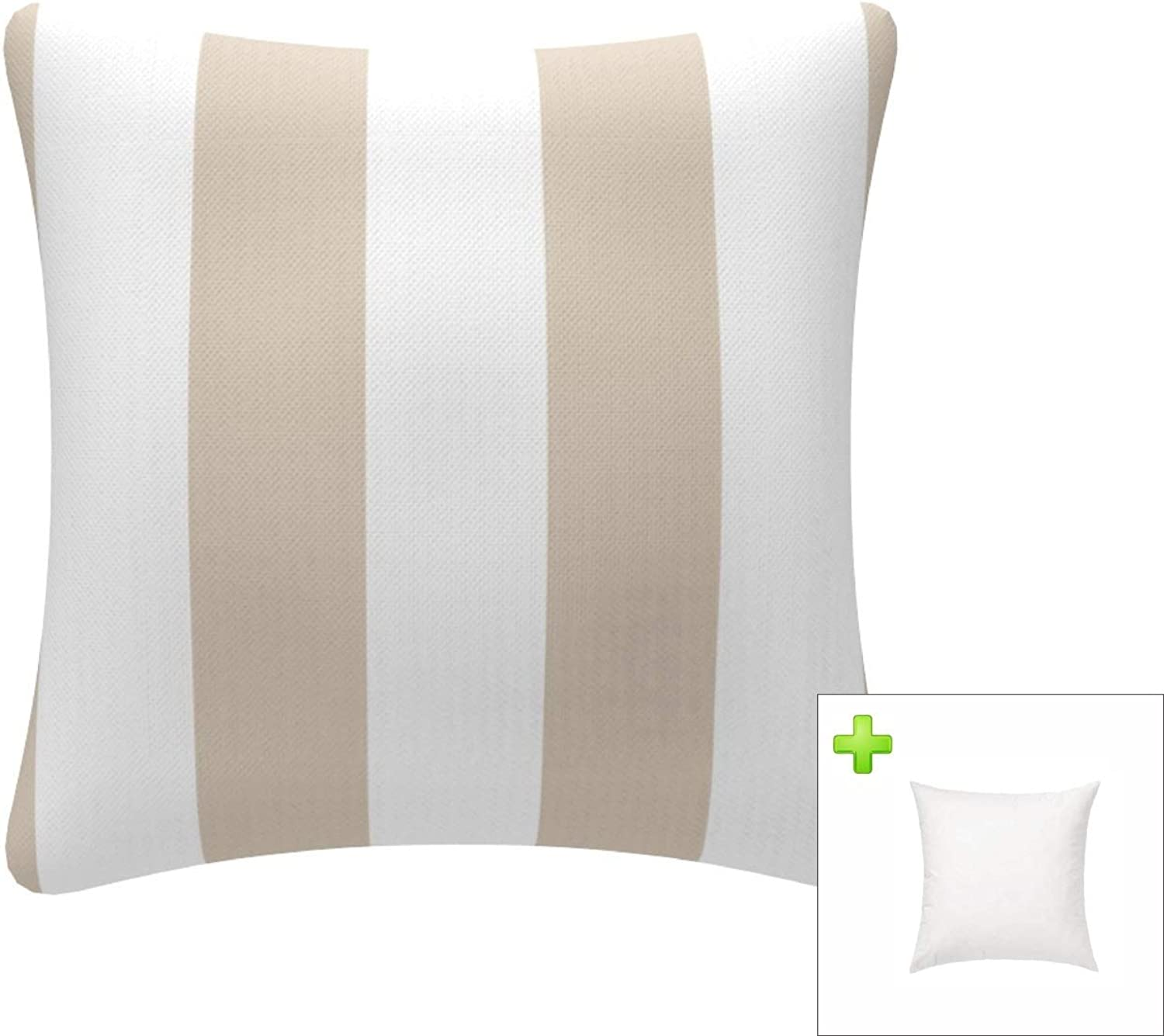 FBTS Prime Throw Pillow with Insert Indoor Outdoor 18 by 18 inches Decorative Square Cushion Cover Pillow Sham (Beige & White, Stripe) for Couch Bed Sofa Patio
