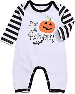 Halloween Newborn Baby Boys Girls Outfits My 1st Halloween Pumpkin Romper Stripe Long Sleeve Jumpsuit Clothes