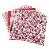 Patchwork de tela de algodón, 7 piezas de tela de algodón con flores, cuadradas, precortadas, tela de retazos para bricolaje, serie de flores rojas (01)