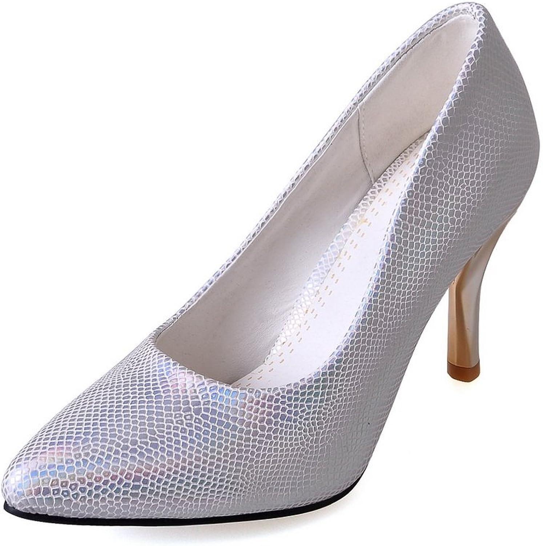 BalaMasa Girls Pointed-Toe Python Pattern Soft Material Pumps-shoes