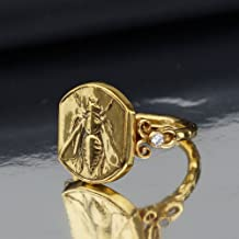 Bee Coin Ring W/ White Topaz Roman Art Handmade 925 k Sterling Silver By Omer 24k Gold Vermeil