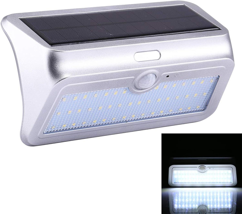 LED Light CELINEZL 13.8W IP64 Wasserdichtes weies Licht Solar Bewegungssensor Licht, 46 LEDs SMD 2835 950LM Auenwandleuchte mit 5.5V 4.5W Solar Panel, Sensorabstand  ca. 8m (Gold) (Farbe   Silber)