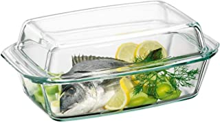 Clear Oblong Glass Casserole by Simax | High Lid Doubles as Roaster, Heat, Cold and Shock Proof, Dishwasher Safe, Made in ...