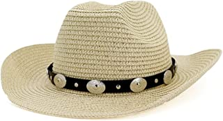 SXQ Summer Men's Women's Straw Hat Casual Denim Sunproof Western Cowboy Hat Fedora Hat Outdoor Travelling Beach Sun Hat With Leather Belt Decoration Gentlemen's Hat UV Protective Visor Cowgirl Hat For