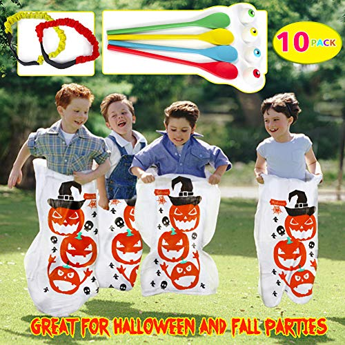 Twister.CK Halloween Party Games, Pumpkin Design Sack Race Bags, Egg and Spoon Race Games Outdoor Lawn Games Bags, Ideal para Suministros de Fiesta de Halloween, Juegos al Aire Libre y Party Favor
