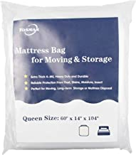 Tosnail Extra Thick 4-Mil Heavy Duty Mattress Bag Cover for Moving and Storage - Queen, Plastic, Clear, Queen