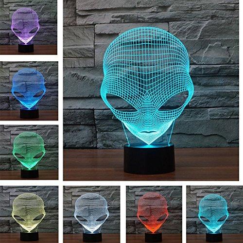 Kingcoo - Lampada da tavolo 3D, effetto illusione ottica, con cambio colore, 7 colori, porta USB Moderno