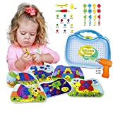 Kidtastic Building Board Drill Set STEM Toys for 4 Years Old, Screw Puzzle Peg with Real Drill,...