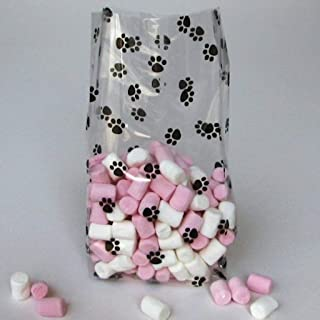 Paw Print Gusset Cello Bag - All-occasion Favor 3.5 Inch X 2 Inch X 7.5 Inch Set of 20