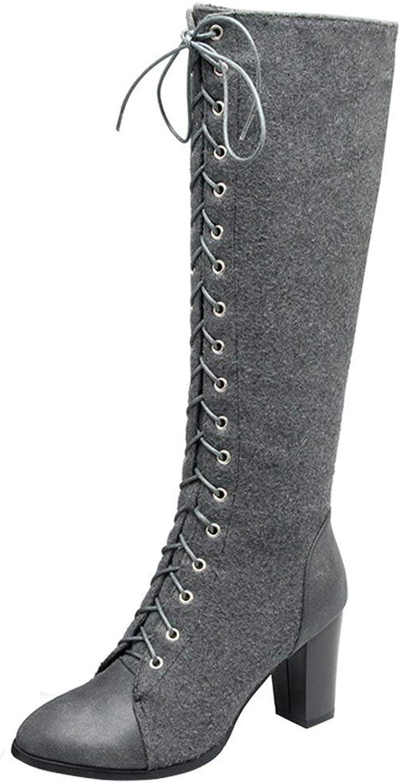 Vitalo Womens High Block Heel Lace up Knee High Boots Zip Ladies Mid Calf Combat Boots