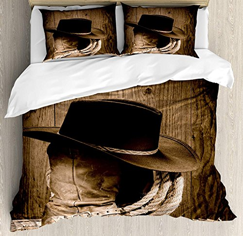 Western 4 Piece Bedding Set King Size, Wild West Themed Cowboy Hat and Old Ranching Rope On Wooden Display Rodeo Cowboy Style, Duvet Cover Set Quilt Bedspread for Childrens/Kids/Teens/Adults, Brown