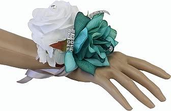Angel Isabella Wrist Corsage-Beautiful handmade wrist corsage keepsake artificial roses 40+colors (White/shades of jade teal)