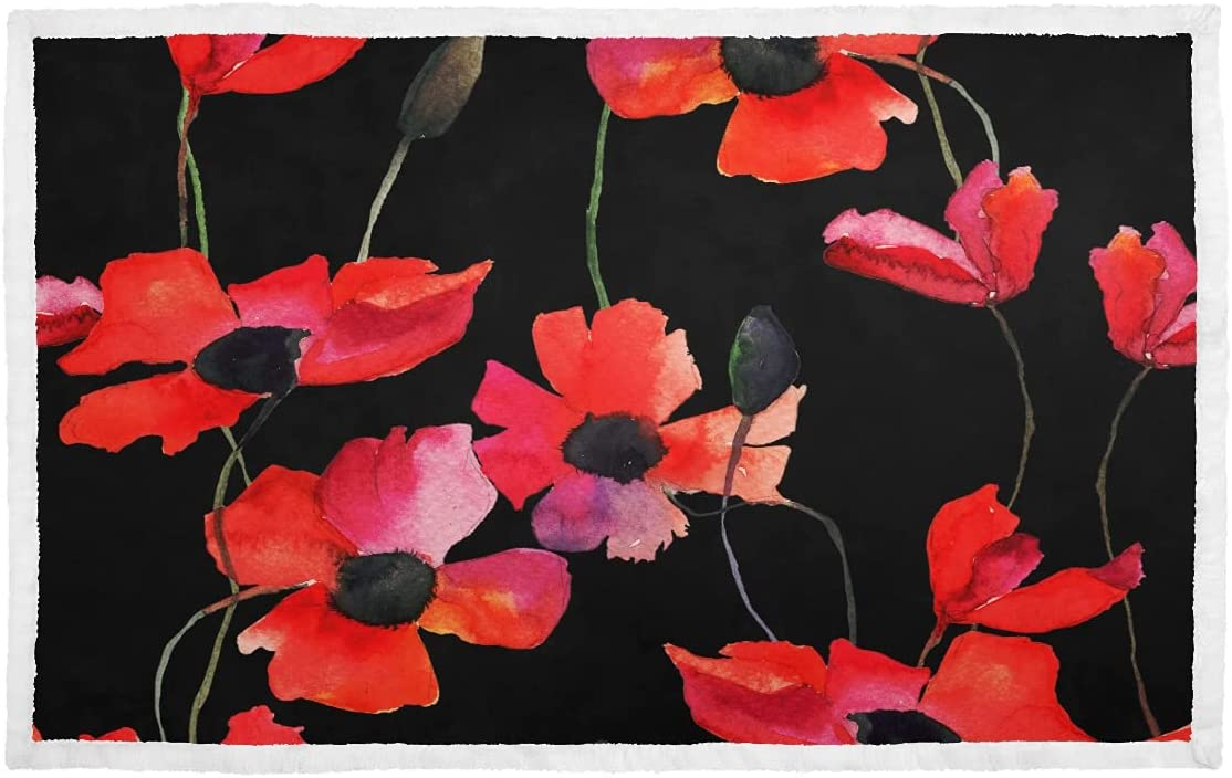 Tiny Blanket Blood Red Color Indefinitely Dog Soft Time sale Small Flower Poppy