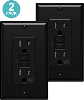 [2 Pack] WEBANG GFCI Outlets, Tamper-Resistant and Weather-Resistant, GFCI Receptacle with LED Indicator, Decorative Wall Plates and Screws Included, 15 Amp/125 Volt, Black