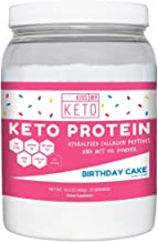 Kiss My Keto Protein Powder - Birthday Cake Keto Collagen Supplement, Grassfed Collagen Peptides & MCT Oil Powder, Low Carb Keto Shake or Keto Coffee Creamer for Ketogenic Diets, 25 Servings