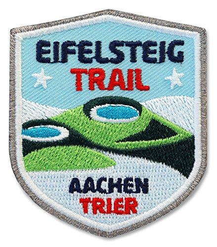 2 x Eifelsteig Abzeichen gestickt 51 x 60 mm / Aachen Trier Fern-Wanderweg / Eifel-Steig Vulkan Aufnäher Aufbügler Sticker Patch / Wandern Wanderführer Wanderkarte Touren-Karte Reiseführer Kompass