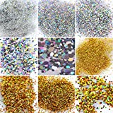 Falliny 12 Shape Gold and Silver Nail Glitter Sequins, 3D Thin Laser Nail Art Flake Acrylic Paillettes, Holographic Nail Sparkle Glitter for Nail Art Decoration