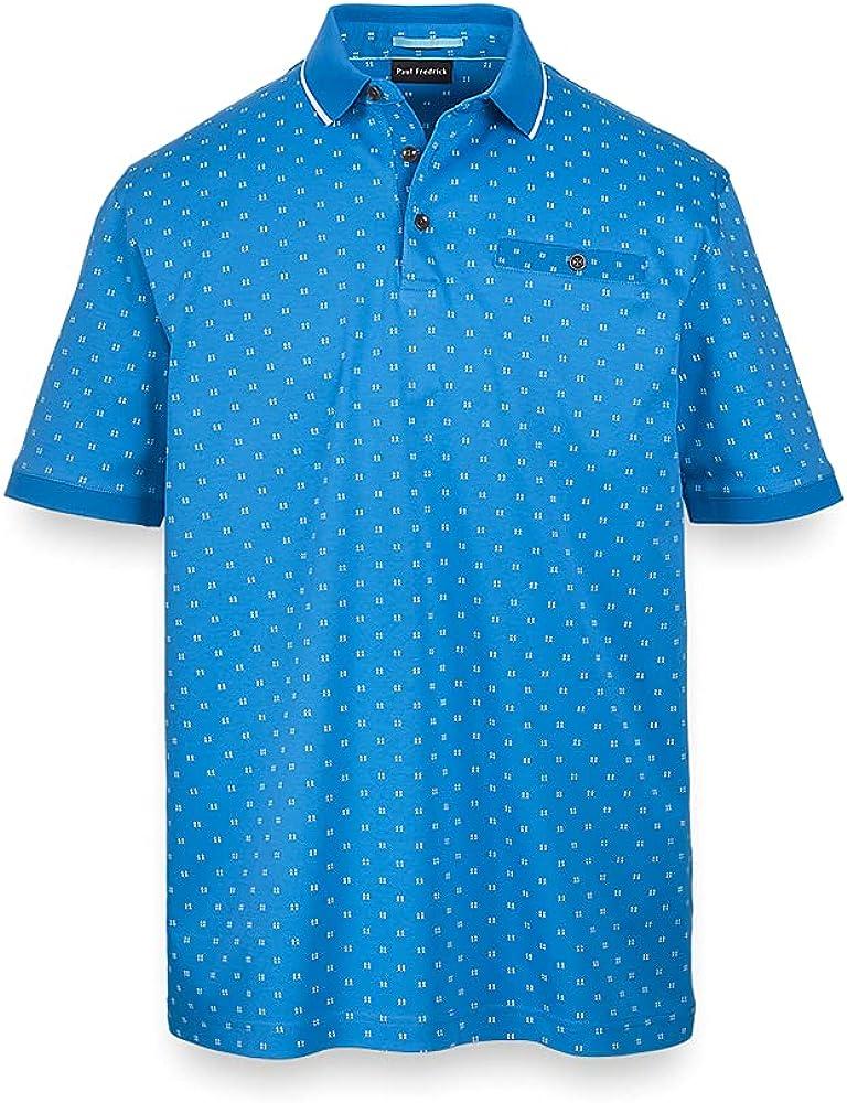 Paul Fredrick Men's Printed Pattern Cotton Polo