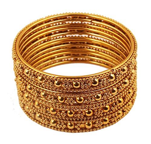 Touchstone Ethnisches indisches Bollywood-Filigran mit modernem Touch Charmante, Dicke Designer-Schmuck-Armreifen für Damen 2.25 Gold