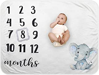 Baby Monthly Milestone Blanket - Organic Plush Fleece Photography Background Prop for Boy Girl Newborn Soft Elephant Blank...