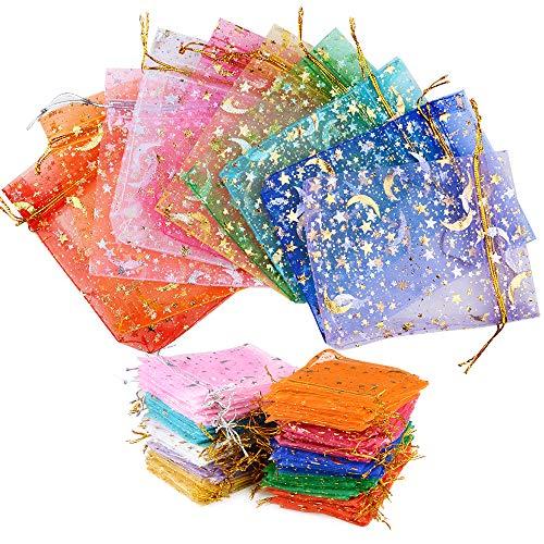 MEJOSER 100 Bolsas de Organza Bolsitas Tul con Estrellas y Lunas 12 x 9cm Saquitos Arroz Regalo Joyas Caramelo Dulces Recuerdo Favores Detalles para Navidad Boda Fiesta Bautizo con Cintas Multicolor