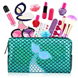 Growsland Kids Makeup Toys - 17Pcs Makeup Set for Girls Pretend Play Game Halloween Xmas Birthday Party Makeup Kit for Toddlers with Cosmetic Bag