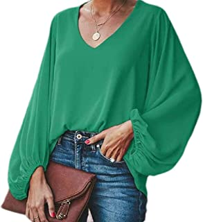 MK988 Women Long Sleeve Plus Size Solid V-Neck Loose Tops Blouse T-Shirt