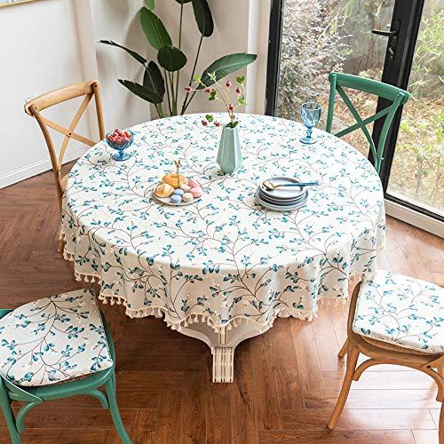 N/A Jinyuan Runde Tischdecke Wischen Sie sauber wasserdichte Polyester Tischdecke Faltenfrei & ideal für Küche Essen Tischplatte Buffet Dekoration(Runde 78 Zoll 200cm)