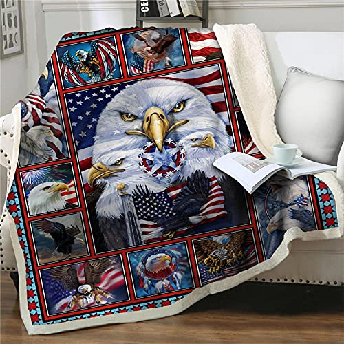 NuAnYI Decke - Weiche Warme Amerika Linien Tier Adler 150X150 cm Decke Für Sofa, Als Decke Für Sofa, Decke Für Sofa Oder Wohnung,Fleecedecke Große Tagesdecke Weiche Decke
