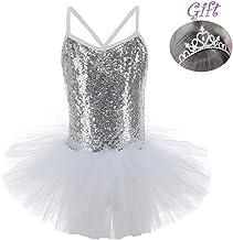 Hougood - Vestido de danza para niña, con lentejuelas, vestido de princesa, vestido de ballet, disfraz, camiseta de gimnasia