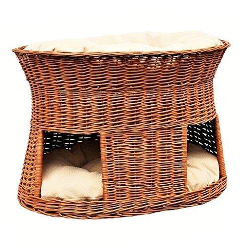 GalaDis 2-21-1 Große Katzenhöhle XXL (75 x 55 x 53 cm) aus Weide mit Zwei Kissen/Katzenkorb/Katzenbett für eine oder Zwei Katzen/Katzenturm auch f. Maine Coon & Co.