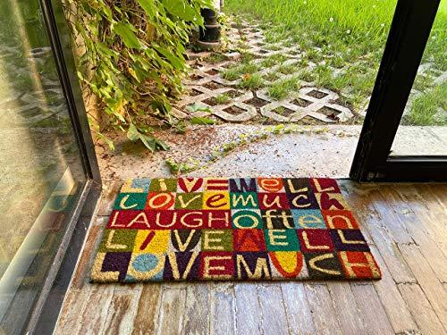 LucaHome - Felpudo de Coco Natural 70x40 con Base Antideslizante, Felpudo de Coco Divertido Live Well Love Much, Felpudo Absorbente Entrada casa, Ideal para Puerta Exterior o Pasillo