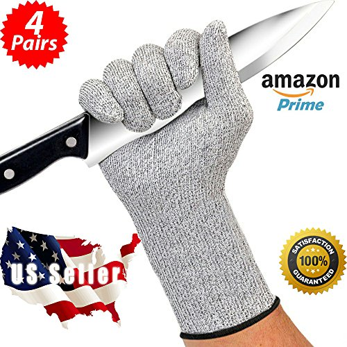 Kitchen Cut Resistant Gloves - 4 Pairs, Knife Safe, Food Grade Gloves for Cutting, Slicing - Level 5 Cut Protection - Lightweight, Breathable, Extra Comfortable - in Standard Size, Fits All, Bulk, Lot