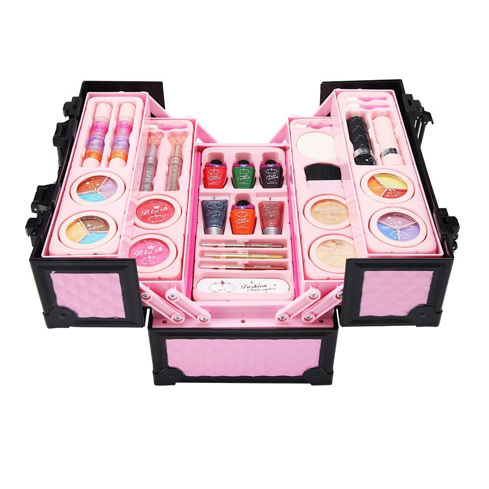 Qiterr Kit de Maquillaje para niñas, Juego de cosméticos Princess Cosmetics para niñas Kit de Maquillaje para niños con Estuche Mini: Amazon.es: Hogar