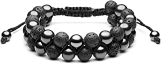 Jovivi Lava Rock Stone Essential Oil Diffuser Bracelet Tiger Eye Hematite Beads Double Layer Bracelets Macrame Adjustable Braided