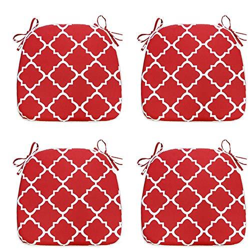 IN4 Care - Juego de 4 cojines de asiento para interiores y exteriores, para todo tipo de clima, en forma de U, 40 x 17 pulgadas, para oficina, patio, muebles, uso en casa, jardín, (geometría roja)