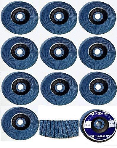 20 Stück INOX Fächerscheiben – Ø 125mm – MIX-Paket - Gemischte Körnung je 5x Korn 40/60/80/120 – blau/INOX Fächerscheiben/Schleifmopteller/Fächerschleifscheibe