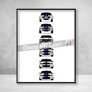 Shelby Mustang GT500 Generations Poster Print Wall Art of the History and Evolution of the Ford Shelby GT500