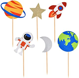 Finduat 24 Pcs Outer Space Cupcake Toppers Planet Outer Space Themed Party Supplies Birthday Decorations Rocket Astronaut ...