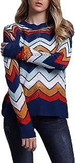 DREAGAL Women's Lightweight Pullover Sweaters Crewneck Striped Knit Sweater