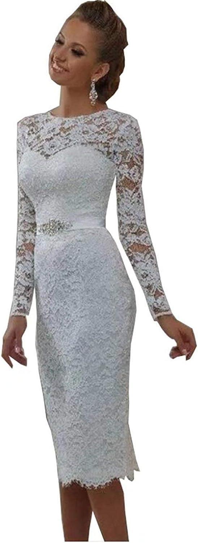 Melisa Women's Elegant Vintage Short Lace Wedding Dress with Train White Long Sleeve Top Knee Length Bride Ball Gown