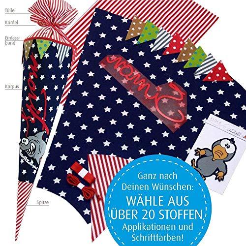 Nähset + Anleitung für Schultüten- bzw. Zuckertütenbezug, 70 cm mit vielen Personalisierungsmöglicheiten