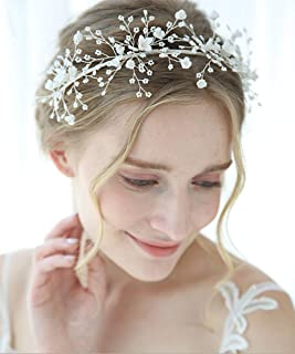 FXmimior - Cerchietto per capelli con perle argentate, con strass e strass, ideale per matrimoni, feste, serate, accessori...