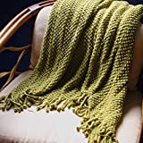 """PAN's Room Knitted Throw Soft & Cosy Blanket for Cough Sofa Bed travel-50""""x70"""" (Green/Olive)"""